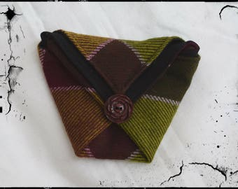 Green purple Plaid origami coin wallet