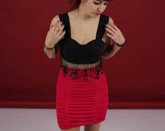 preloved 90s velvet midi skirt size s