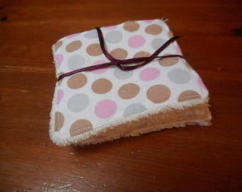 set of 6 square wipes, cotton and Minky (Minkee)