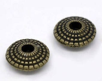 set of 10 flying saucer beads bronze 8mm