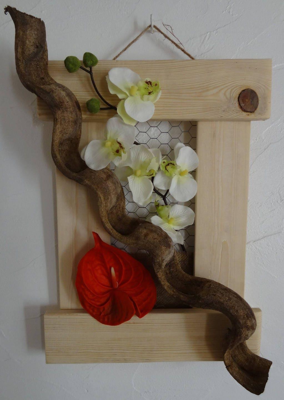 tableau cadre bois avec orchid e et arome et racine. Black Bedroom Furniture Sets. Home Design Ideas
