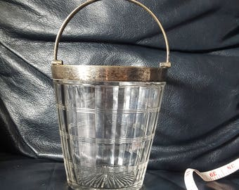 Vintage glass ice bucket with silver plate rim