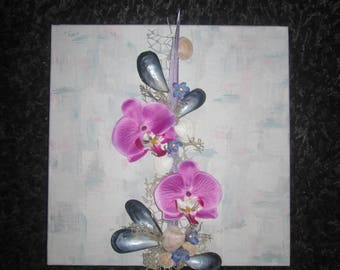 3D with artificial flowers, orchids, seashells, modern painting, floral, arrangement, wedding, gift