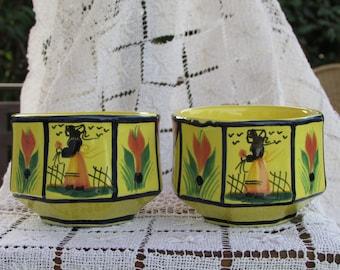 Quimper Vintage Soleil Yellow Breton Man Woman Cups with Handles