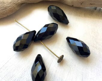 Swarovski Crystal, 2 Pearl drops, drops, black drop Crystal, Crystal, 2 pendants beads set, 20 x 10 mm, (T21)