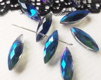 1 lot of 2 gorgeous faceted Swarovski Crystal pendants, drop, electric blue 22 x 8 x 6 mm (PABE)