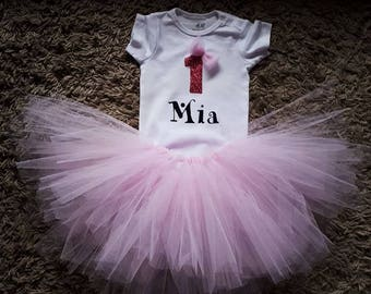 A personalaized baby girl birthday tutu dress