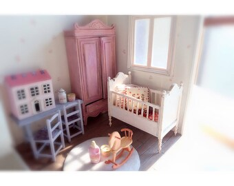 Whole Miniature dollhouse girls bedroom kit