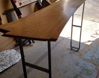 Red oak live edge table with powder coated legs