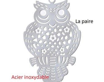 Set of 2 pendants prints filigree OWL 30 x 19 mm stainless steel