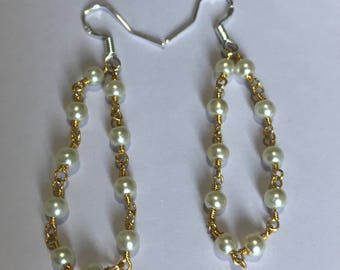 Pearls Yellow Gold Sterling silver Dangling earrings