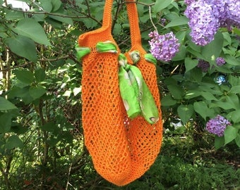 To carry all crocheted cotton orange