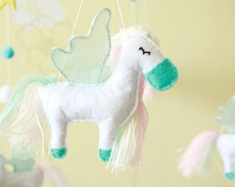Pegasus baby mobile, horse mobile, animals crib mobile for children