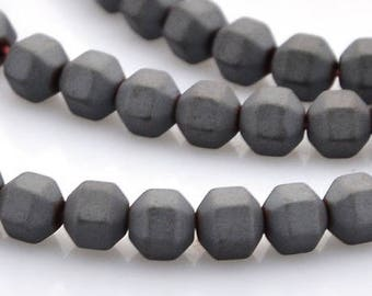 Set of 10 beads hematite, frosted, faceted, black, 4 x 4 mm, hole 0.7 mm