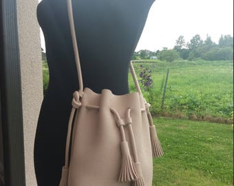 Leather bucket bag hand made