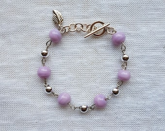 Bracelet glass beads Lilac
