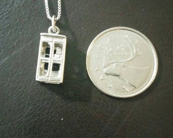 3D Telephone Booth Sterling pendant necklace