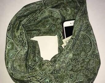 Green Paisley infinity hidden pocket scarf