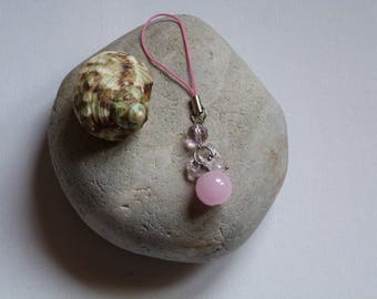 CELL PHONE OR BAG JEWELRY HAS CLEAR PINK GLASS BEADS