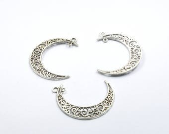 BR529 - Set of 3 silver metal half moon charms