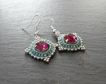 Earrings fuchsia and green Swarovski Crystal beads