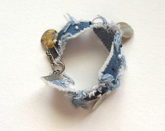Original denim and mother of Pearl Cuff Bracelet