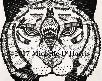 Zentangle Tiger Print, Mandala Tiger Print, , Tiger Wall Art, Zentangle Tiger Drawing, Black & White Tiger Drawing, Zen Art,