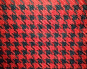 fabric coupon couture houndstooth black and red stitching