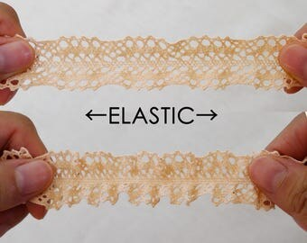 Organic cotton Ribbon lace elastic color terracotta clear 24mm