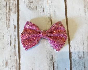 Hot Pink Chunky Glitz Bow