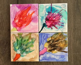 Abstract wildflower tile coaster set // flower, burst, colorful, abstract, flare, housewarming, coasters, trivet, living room, dining room