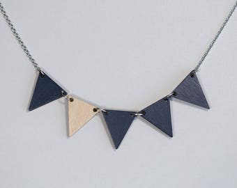 Pennant Wood Necklace, Navy Blue Wooden Necklace, Minimalist Geometric Jewelry, Triangle Necklace, Simple Necklace, Gift For Her