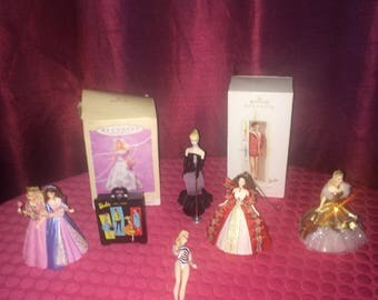 Barbie and Ken Hallmark Keepsake Ornaments - Lot of 8