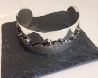 Sterling silver and mixed gemstone cuff