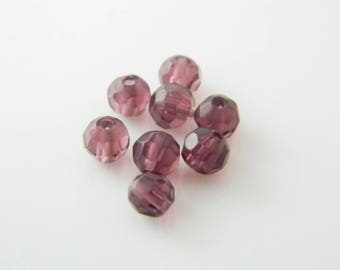faceted round bead 8 x 3mm (a99) purple