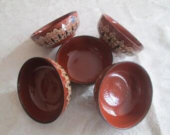 Handmade ceramic bowls, Vintage Bulgarian ceramic bowl, Ceramic Soup Bowls,Hand Painted Troqn Clay Bowl,Ceramic Soup Bowls,Rustic home decor
