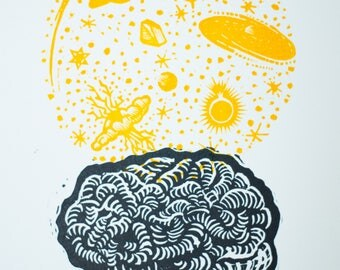 Linocut / Magic potion which makes us invincible, the brain