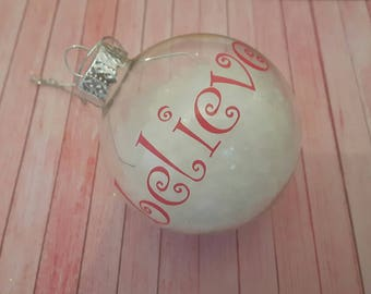 """Pink """"Believe"""" Clear Bauble with Snow"""