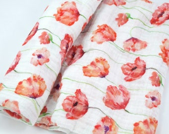 """Muslin Swaddle Blanket in Red Watercolor Poppies - made from 100% cotton double gauze - 45"""" square"""