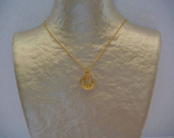 Donuts stone Citrine (yellow translucent) and gold chain necklace