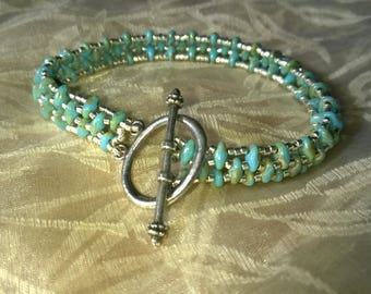 Bracelet turquoise and silver duo beads