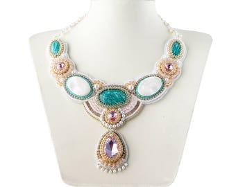 "Necklace with Amazonite, mother of pearl and Swarovski crystals. ""Tenderness""."