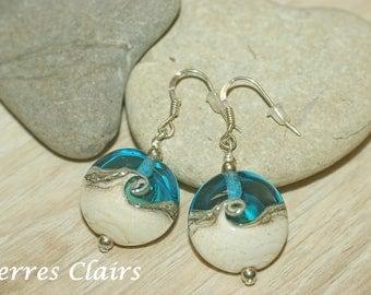"""Blue earrings - ivory """"Twisty"""""""