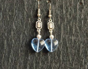 Earrings Silver earrings with blue hearts glass beads