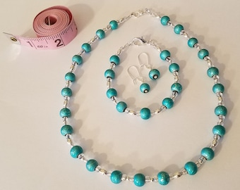 Blue and Silver Beaded Jewelry Set