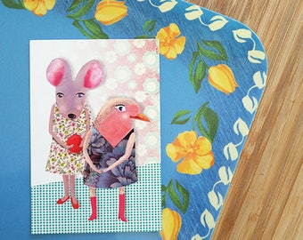 Mouse and Bird are playing, newborn girl, baby girl, sleepover girls, birthday girls, friendship card, party invitation, sisterlove, pink