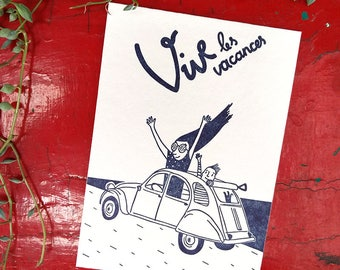 Vive les vacances, letterpress postcard blue, holiday card, teachers gift, postcard summer, springbreak postcard, camping with family