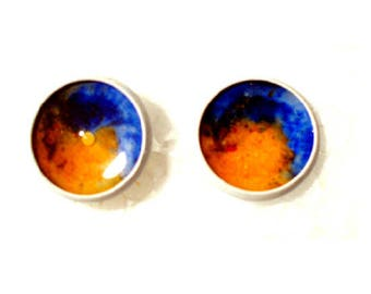 White Stud Earrings with orange and blue resin cabochons colored sand