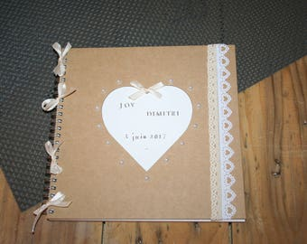 Guestbook wedding anniversary white and taupe lace customizable country spirit heart
