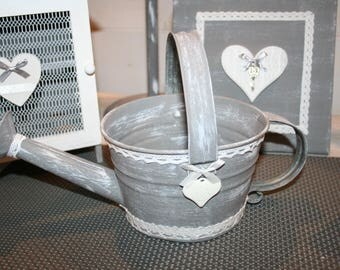 Old sprinkler gunmetal shabby white lace heart